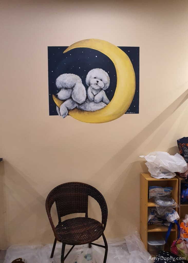 pet dog wall paintings at JJ pets shows a sleepy bichon and poodle on a moon