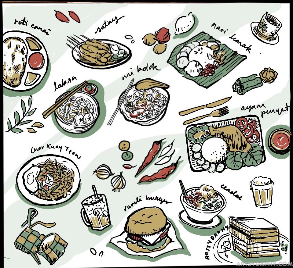 Malaysian Food Doodle Wall Art at Raini's Kitchen