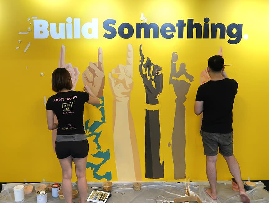 Painting Nas Daily Office Mural in Singapore