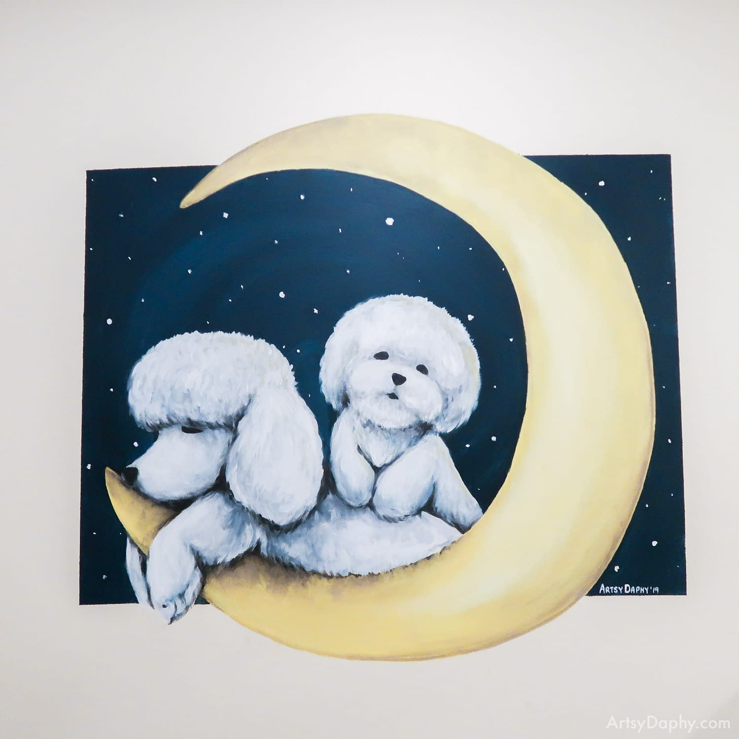 Sleepy pet dog bichon and poodle wall painting