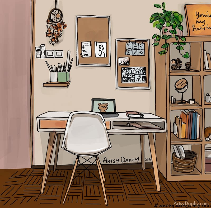 room interior design sketch with pink door, hanging cork board and ikea kallax shelf filled with personal items