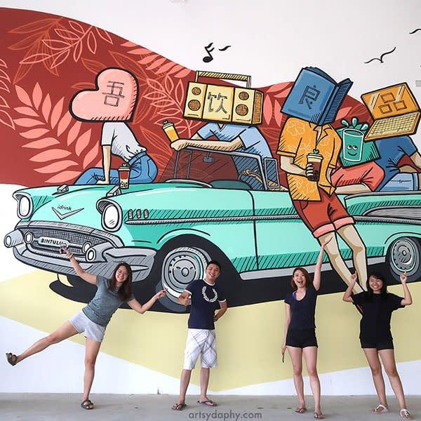 Large iDrink Bintulu Sarawak Mural inside warehouse cafe