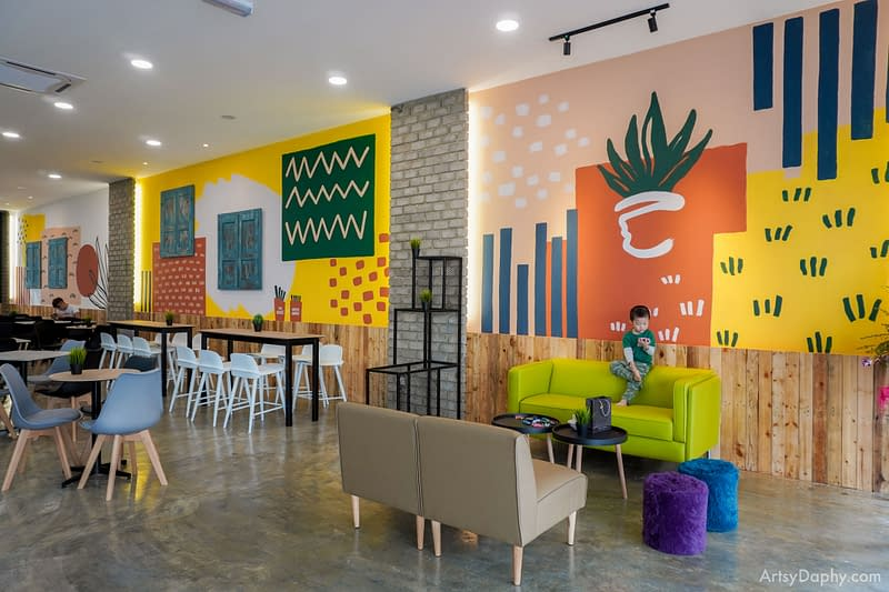 Three colourful walls at the Grass Jelly Dessert store at Canaan Square, Kuching