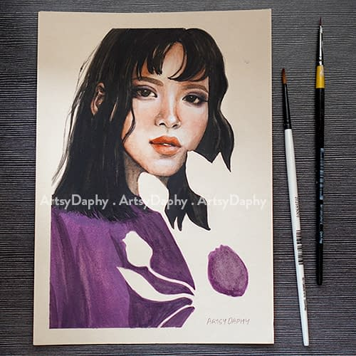Beautiful Maria Gouache Painting features an asian woman with flowers