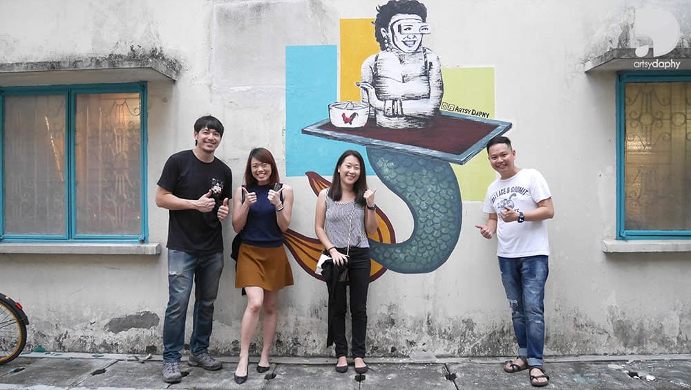 One of WooPin Kamunting Kuala Lumpur Murals on the exterior wall with owners Alan Yun, Wayne and Team Artsy Daphy