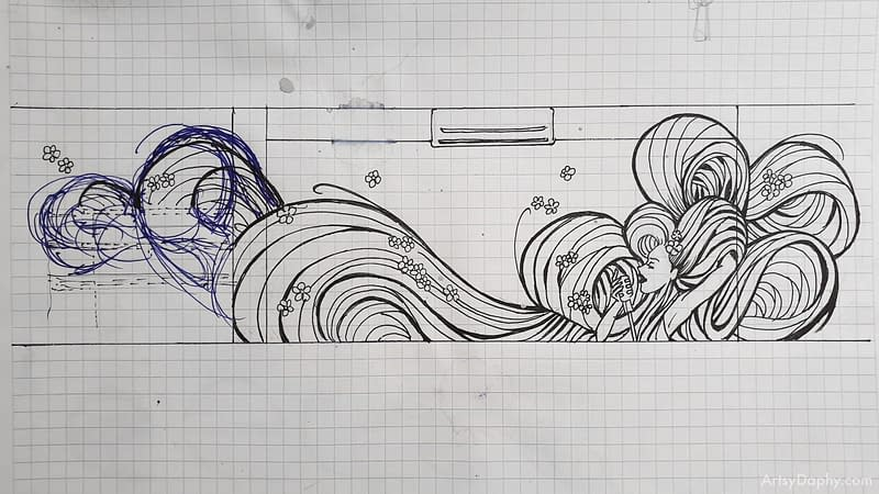 scaled line art sketch of a woman singing that will be a mural at Linum 19 bar