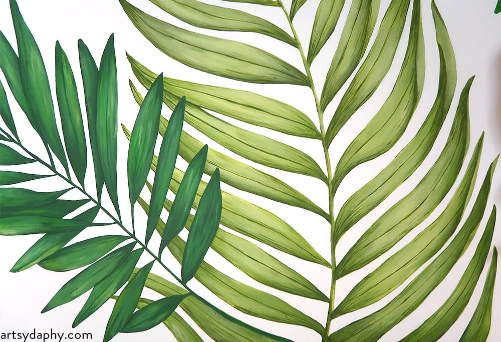 green leaves mural