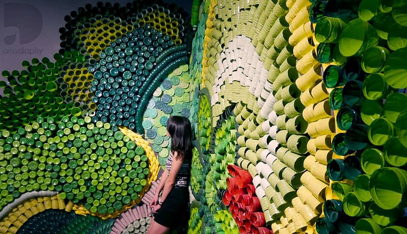 Recycled 3D installation mural at hotel Portfolio of Malaysian Professional Artist Artsy Daphy