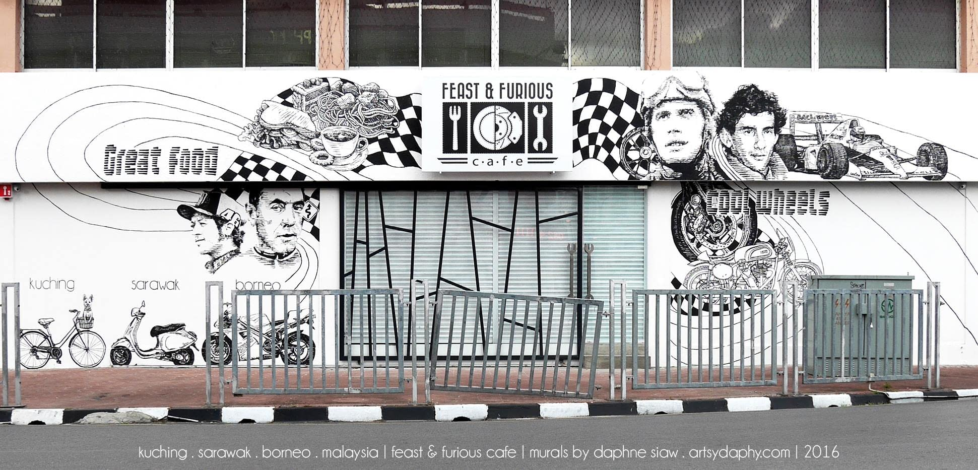 iconic line art mural at feast and furious cafe kuching features artistic line art bikes and motorsports legends