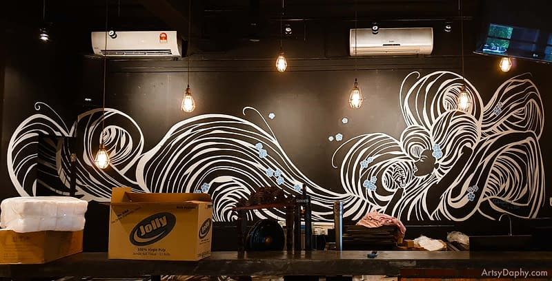 Linum 19 Bar Flowy Hair Mural showing a white line art painting on black wall