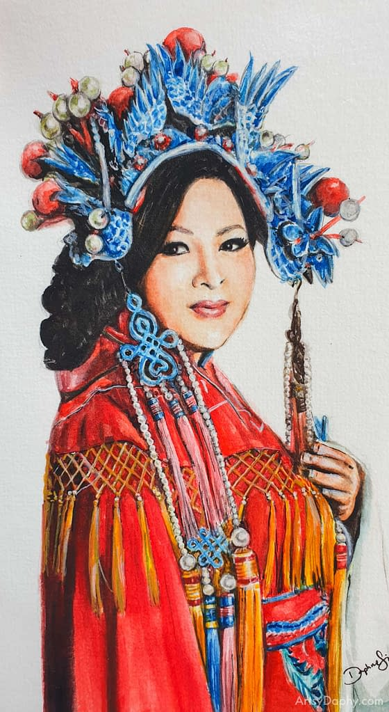 watercolour portrait of a woman in a Chinese costume