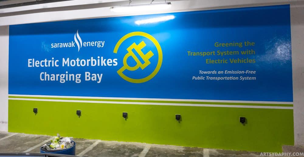High Gloss Wall Painting for Sarawak Energy Charging Bay in Basement Carpark