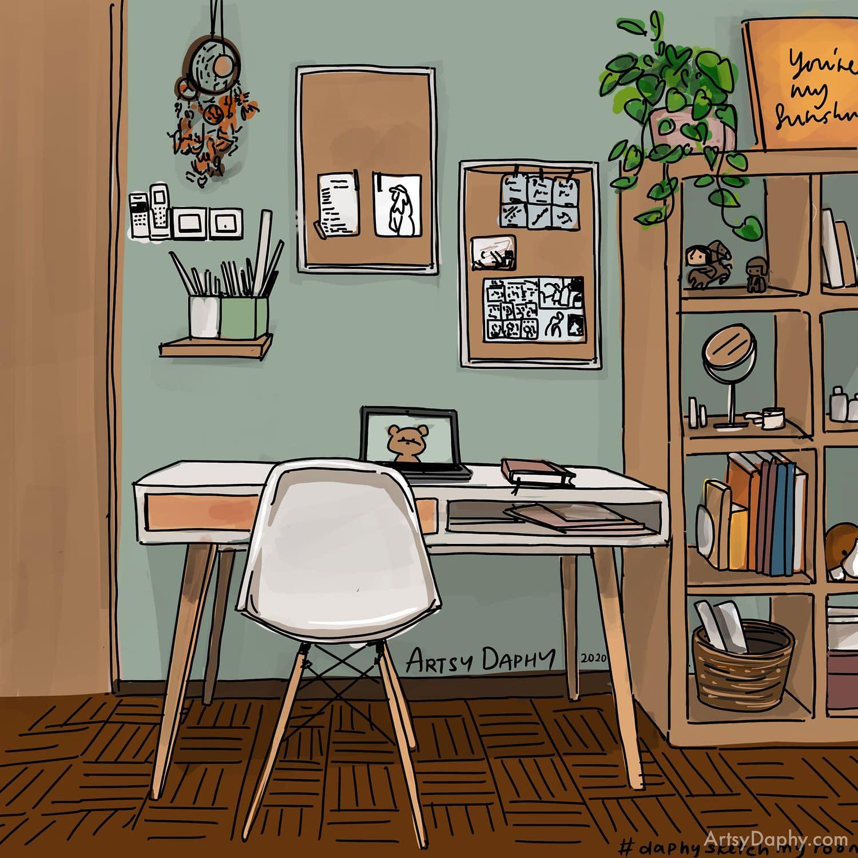 room study interior design sketch