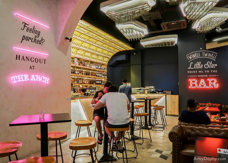 The interiors of The Arch fine dining Thai restaurant and bar with neon lights and typography