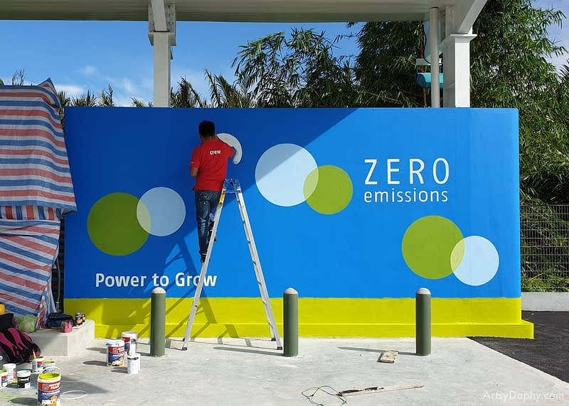 Team Artsy Daphy painting the first hydrogen fuel cell refuelling station in south east asia