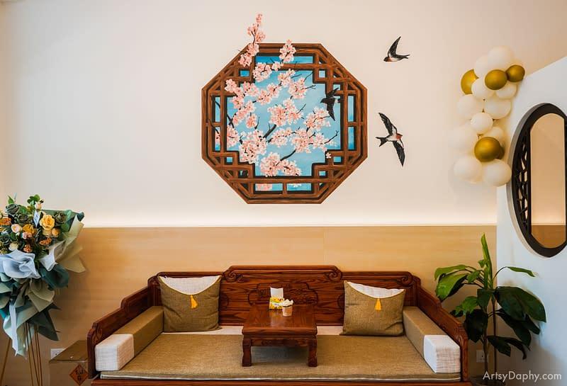 an oriental mural at the HappiNest bird nest dessert store