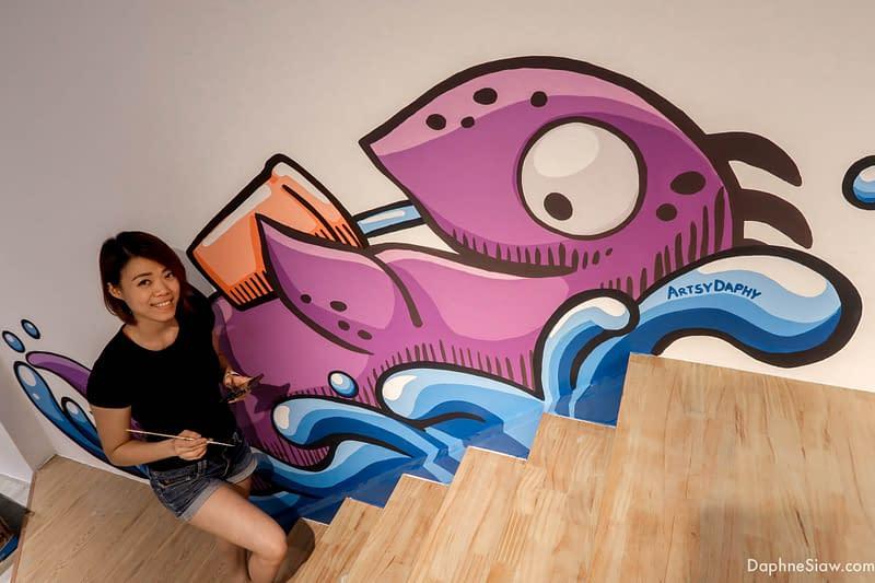 cute loch ness monster mural in Gessy Tea Hosue Kuching