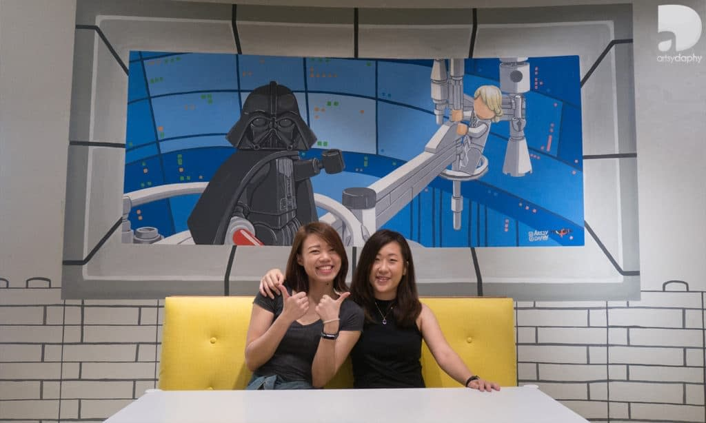 Blokke Citta Mall Lego inspired murals by Artsy Daphy features star wars Darth Vader and Luke Skywalker