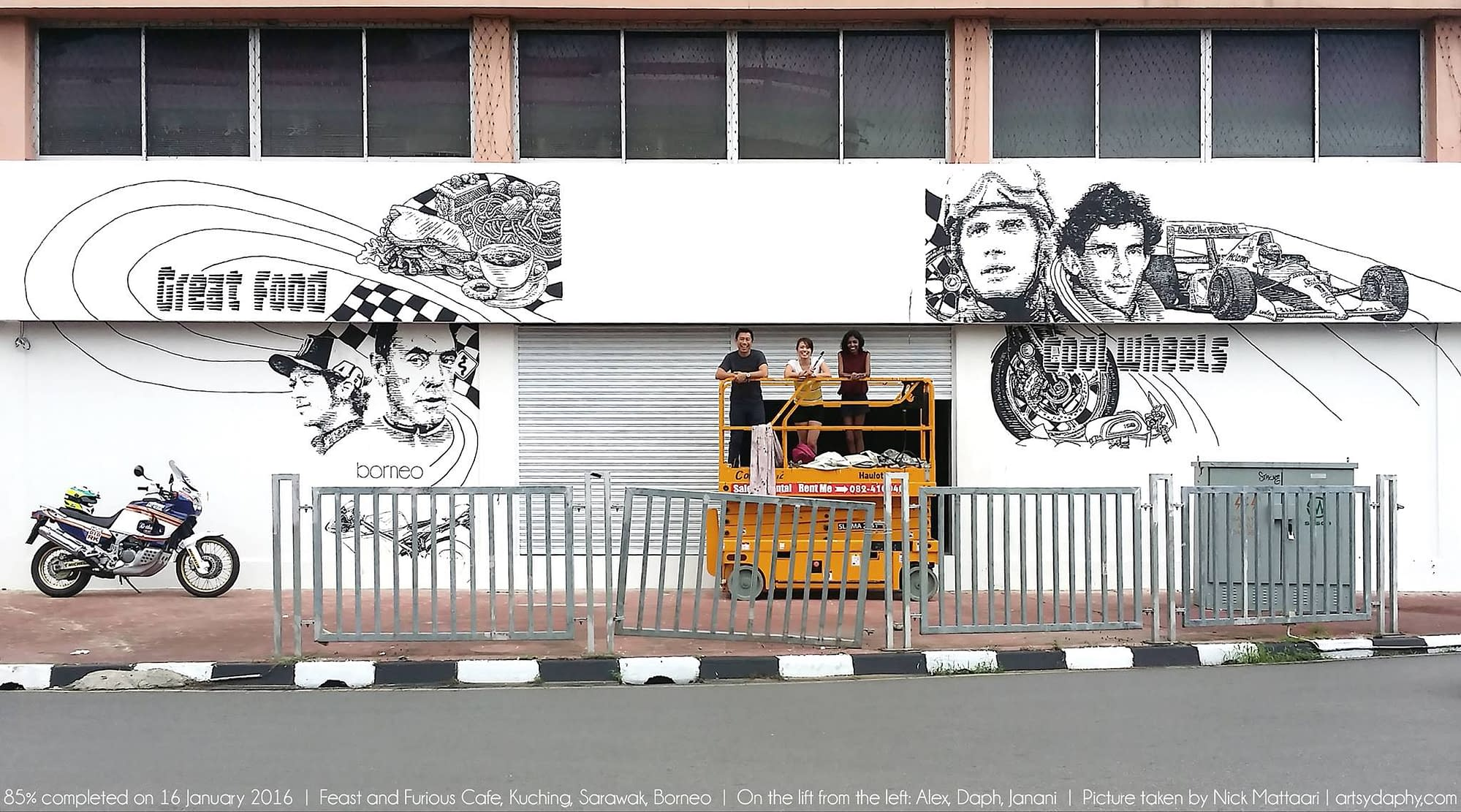 Painting process of the iconic Feast & Furious cafe mural in Kuching