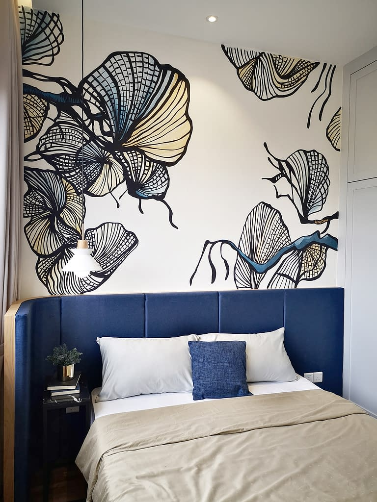 Matching mural in the bedroom of Setia Alam Showroom