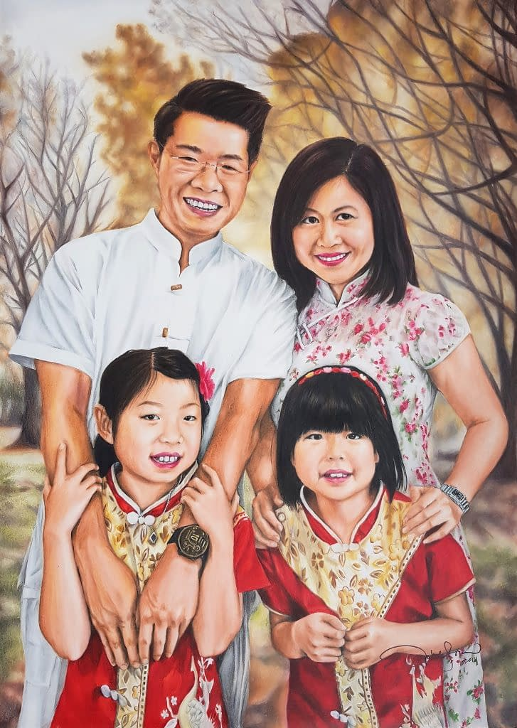 Colour Pencil Family Portrait