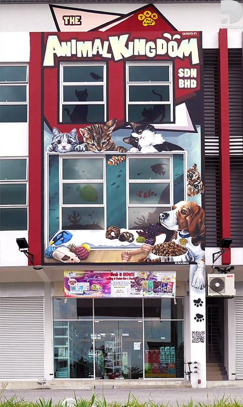 Large 3D Animal Mural Sarawak at Animal Kingdo featuring cute realistic pet paintings