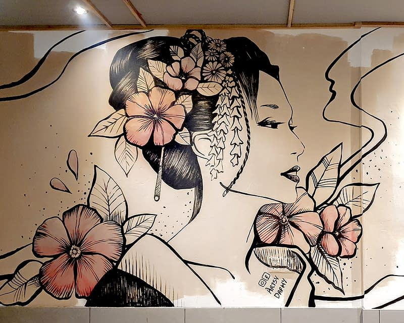 Japanese woman restaurant mural at Ginza Restaurant Saradise, Kuching by Artsy Daphy